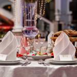 Restourant's table prepared for celebrating event