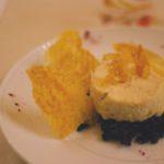 Il mio baccalà mantecato Baccalà mantecato all'olio di Nanto senz'aglio su letto di riso nero cotto in tingolo di verdure chiare e calvados