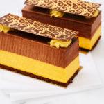 Sponge cake with chocolate and mango mousse. Horizontal shot